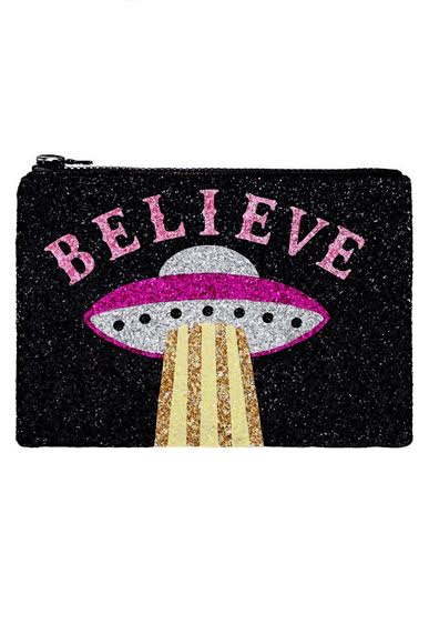 Believe Glitter Clutch Bag