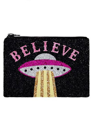 Believe Glitter Clutch Bag - I KNOW THE QUEEN at The Bias Cut