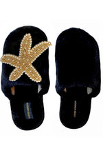 Black Fluffy Closed Toe Gold & Pearl Starfish Slippers