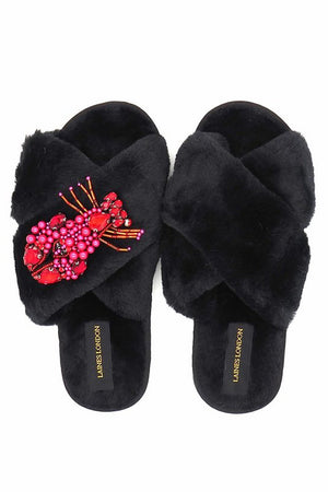 Black Fluffy Slippers Crystal Lobster Brooch - Laines London