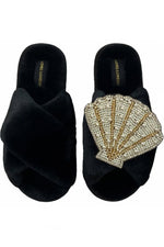 Black Fluffy Slippers Deluxe Artisan Venus Shell Brooch