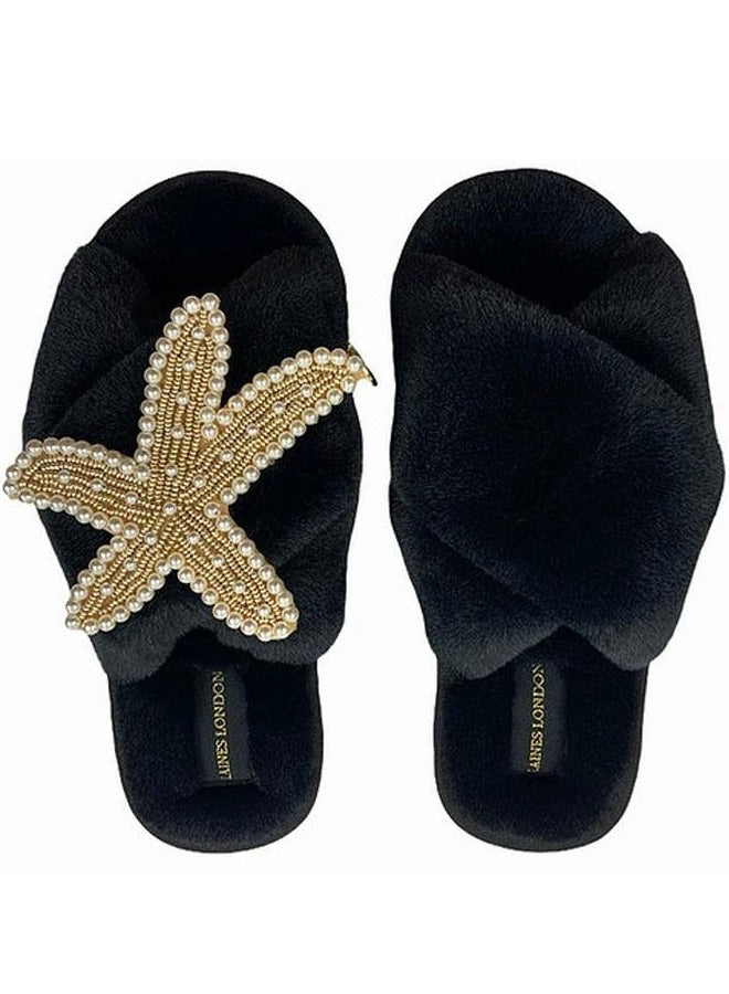 Black Fluffy Slippers With Gold & Pearl Starfish