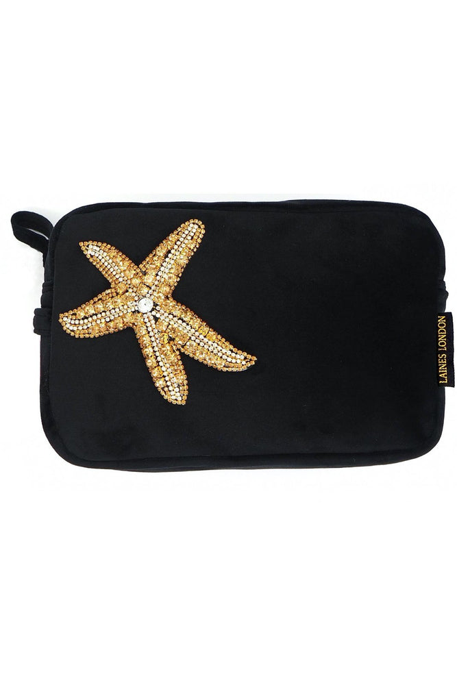 Black Velvet Bag With Golden Starfish Brooch - Laines London