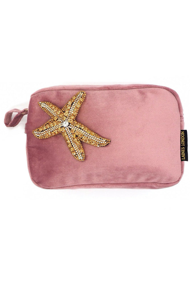 Blush Pink Velvet Bag With Golden Starfish Brooch