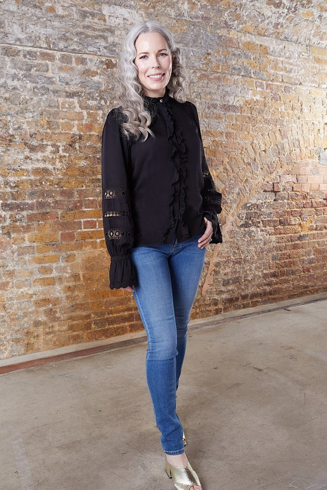 Load image into Gallery viewer, Fabienne Chapot Boho Style Black Blouse at The Bias Cut