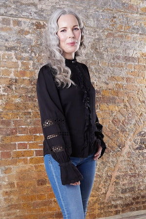 Fabienne Chapot Boho Style Black Blouse at The Bias Cut