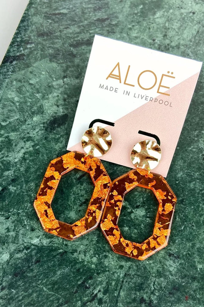 Burnt Orange & Gold Flake Retro Studs - ALOË at The Bias Cut