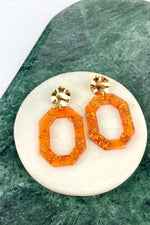 Burnt Orange & Gold Flake Retro Studs