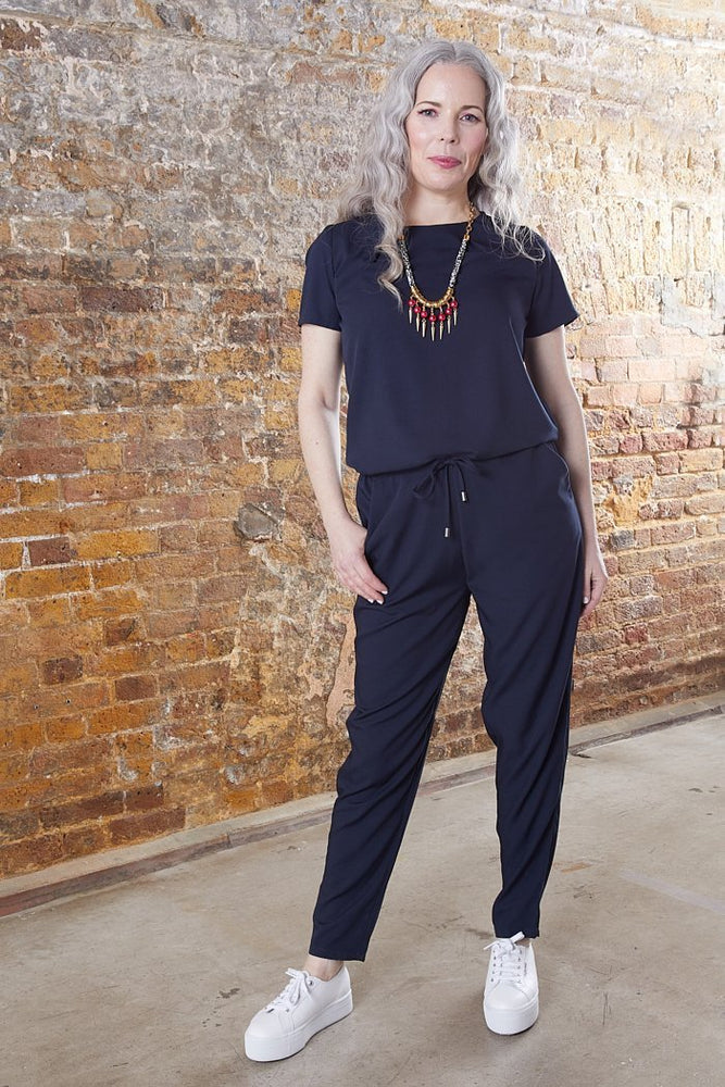 Modstrom Campbell Navy Short Sleeve Jumpsuit