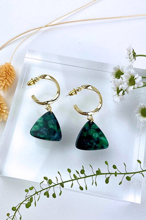 Chunky Bottle Green Dangle Studs - ALOË at The Bias Cut