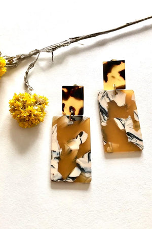 Chunky Ochre Tortoiseshell Studs - ALOË at The Bias Cut