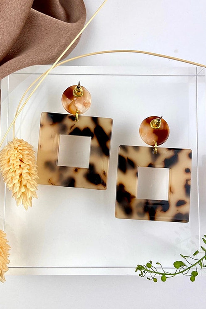 Chunky Square Tortoiseshell Dangle & Drop Earrings - ALOË at The Bias Cut