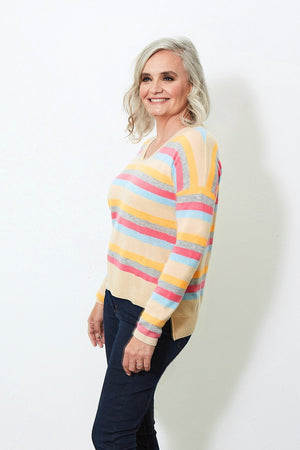 Load image into Gallery viewer, Clove Multistripe 100% Cashmere Jumper - Charli at The Bias Cut