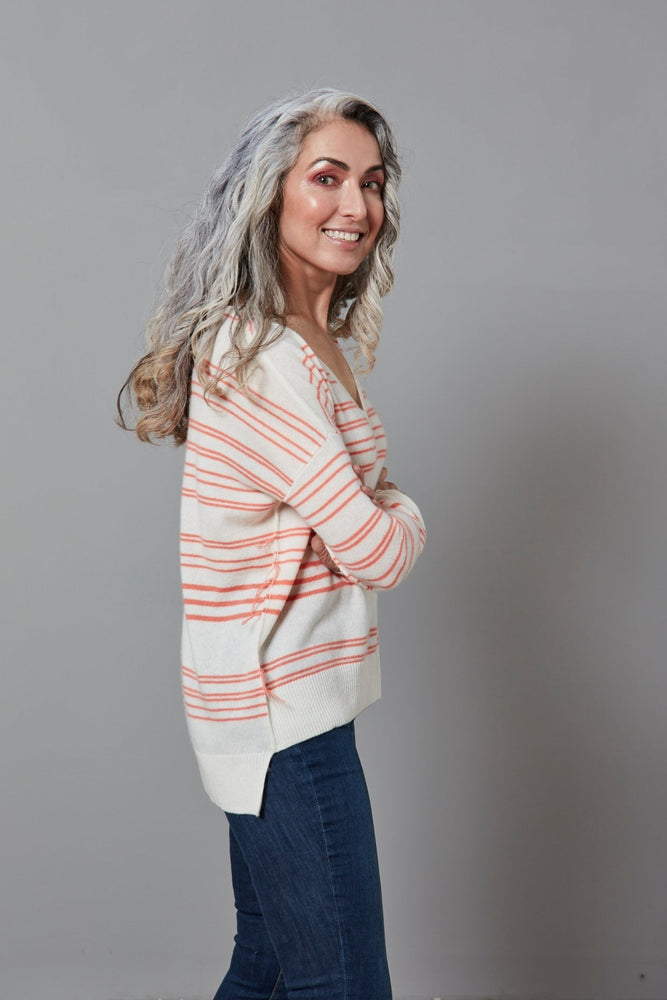 Load image into Gallery viewer, Clove Stripe Cashmere Jumper - Charli at The Bias Cut