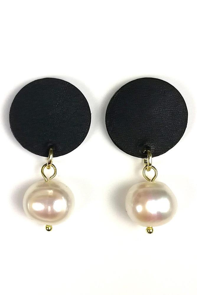 Coco Leather and Pearl Earrings