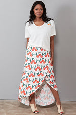 Cora Skirt in Peachy Print - Size XL