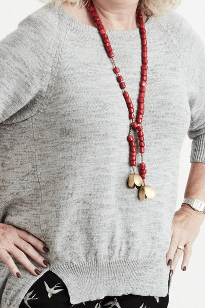 Coral Lariat & Brass Necklace - Gem & Tonic