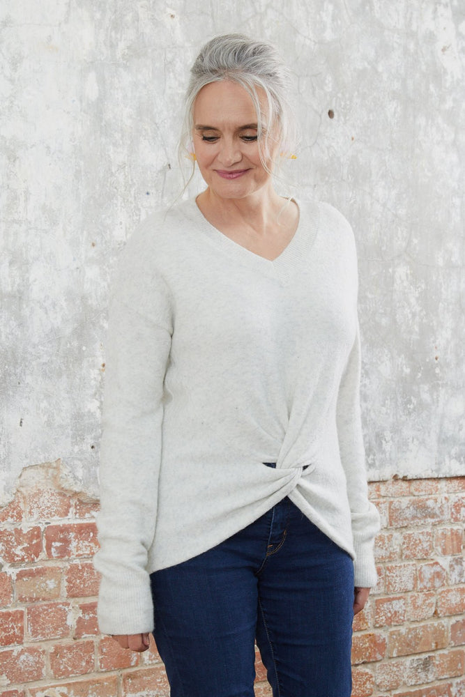 Load image into Gallery viewer, Crewneck Grey Knit with Knot Detail - Scotch & Soda