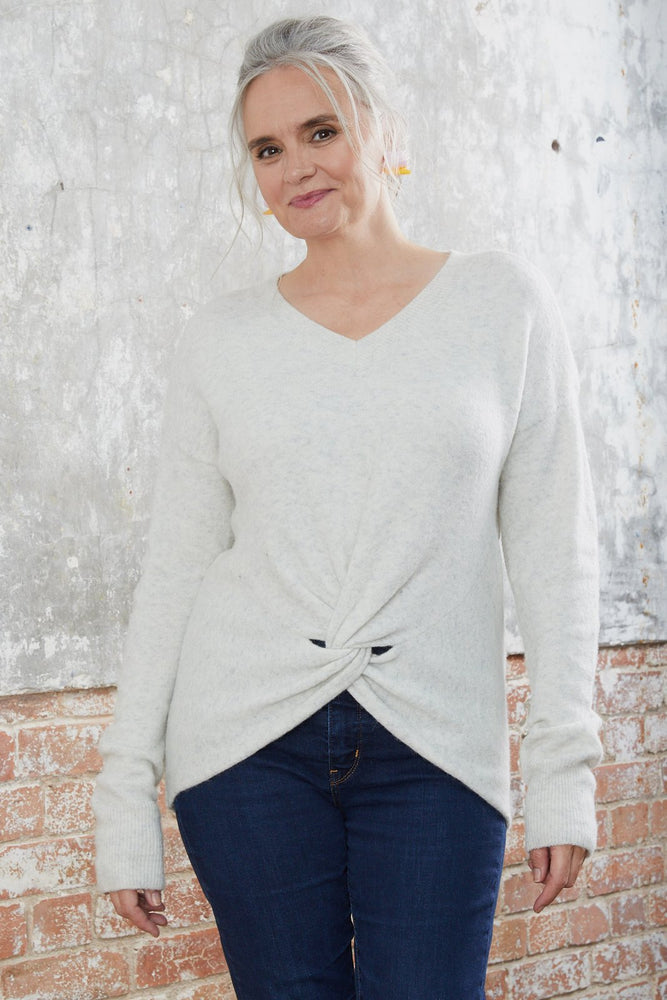 Crewneck Grey Knit with Knot Detail
