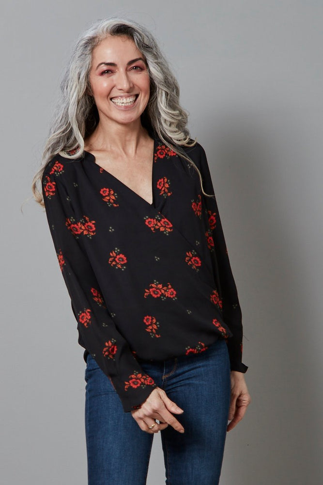 Crossover V-Neck Floral Blouse - Scotch & Soda