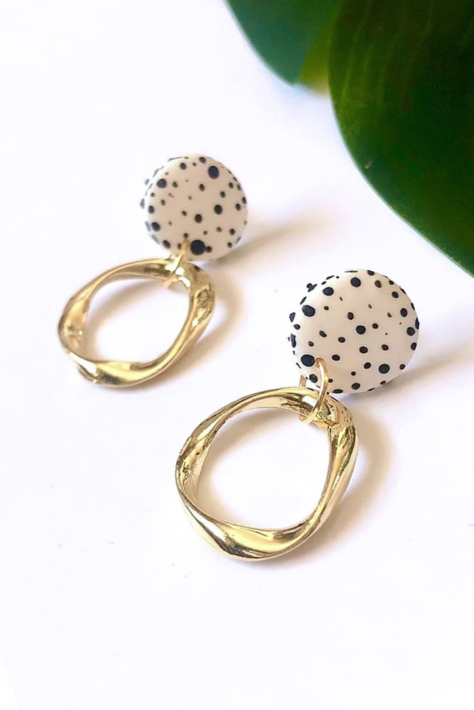 Dalmatian Mini Stud Irregular Hoops