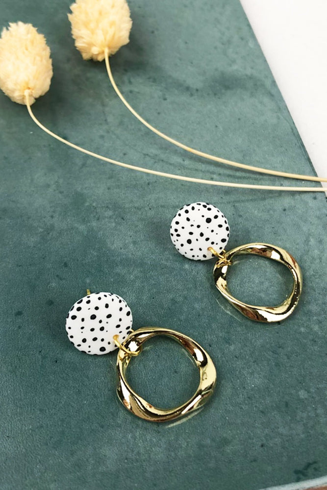 Load image into Gallery viewer, Dalmatian Mini Stud Irregular Hoops - ALOË at The Bias Cut