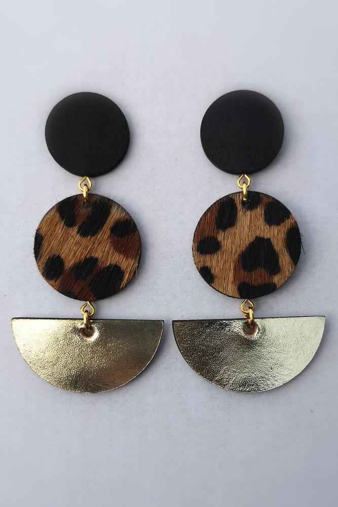Double Dot/Slice Earrings in Black, Leopard & Gold
