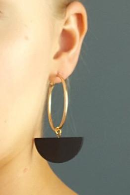 Load image into Gallery viewer, Eclipse Black Hoop Earrings - Dark Horse Ornament at The Bias Cut
