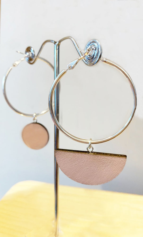 Load image into Gallery viewer, Eclipse Blush Hoop & Dot Earrings - Dark Horse Ornament at The Bias Cut