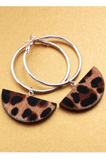 Eclipse Hoop Leopard Print Earrings - Dark Horse Ornament at The Bias Cut