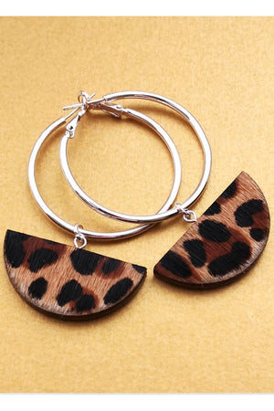 Load image into Gallery viewer, Eclipse Hoop Leopard Print Earrings - Dark Horse Ornament at The Bias Cut
