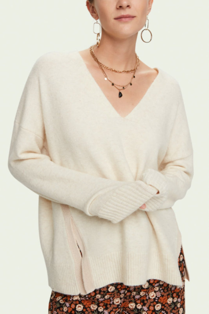 Fuzzy V Neck Knit With Side Slits