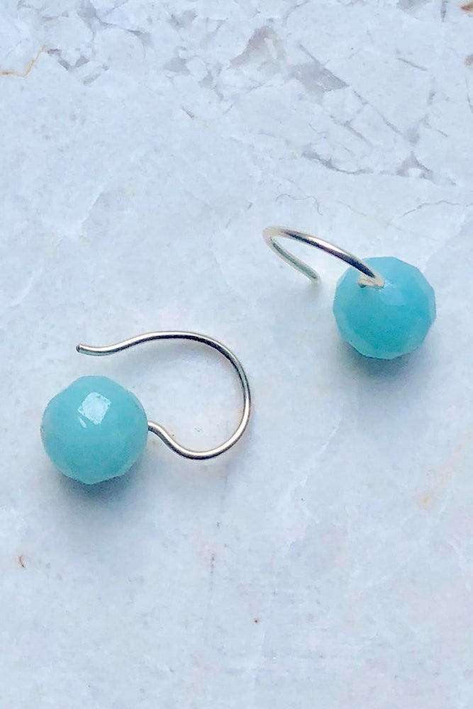 Load image into Gallery viewer, Gem Hook Earrings (available in 5 semi-precious stones) - Gem & Tonic at The Bias Cut