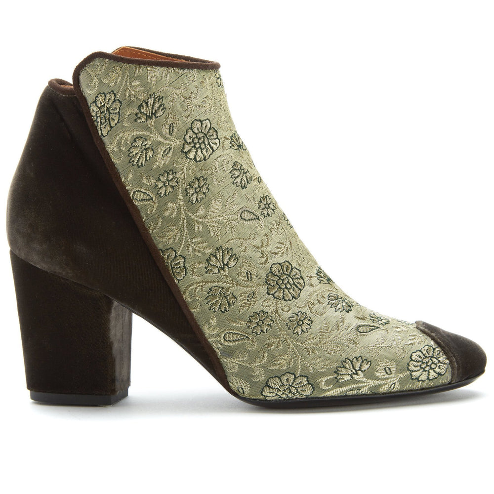 Golden Rose of Banaras Velvet Ankle Boots