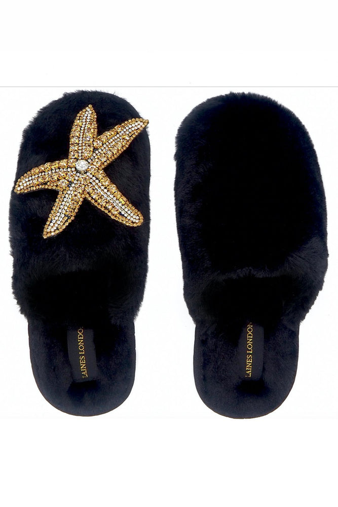 Golden Starfish Closed Toe Black Fluffy Slippers