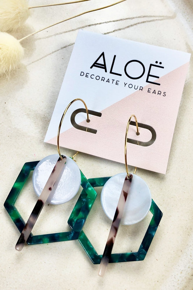 Green Hex Triple Hoops - ALOË at The Bias Cut
