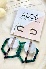 Green Hex Triple Hoops - ALOË