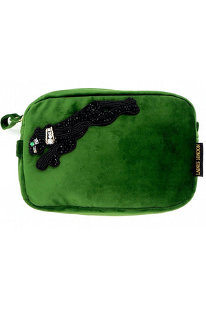 Green Velvet Bag With Jet Black Panther Brooch - Laines London