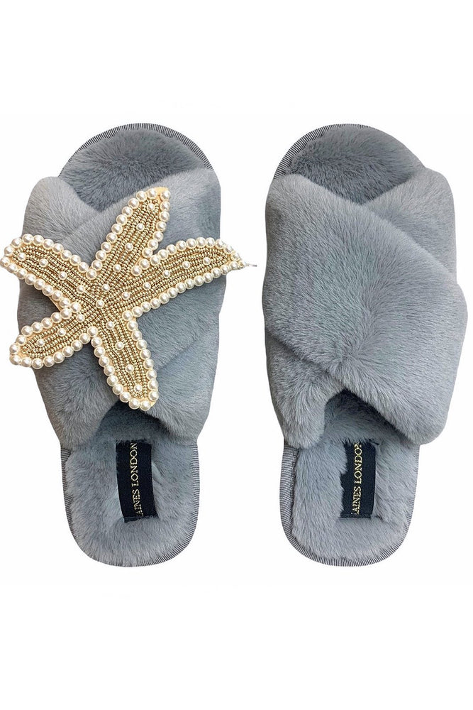 Grey Fluffy Slippers With Gold & Pearl Starfish