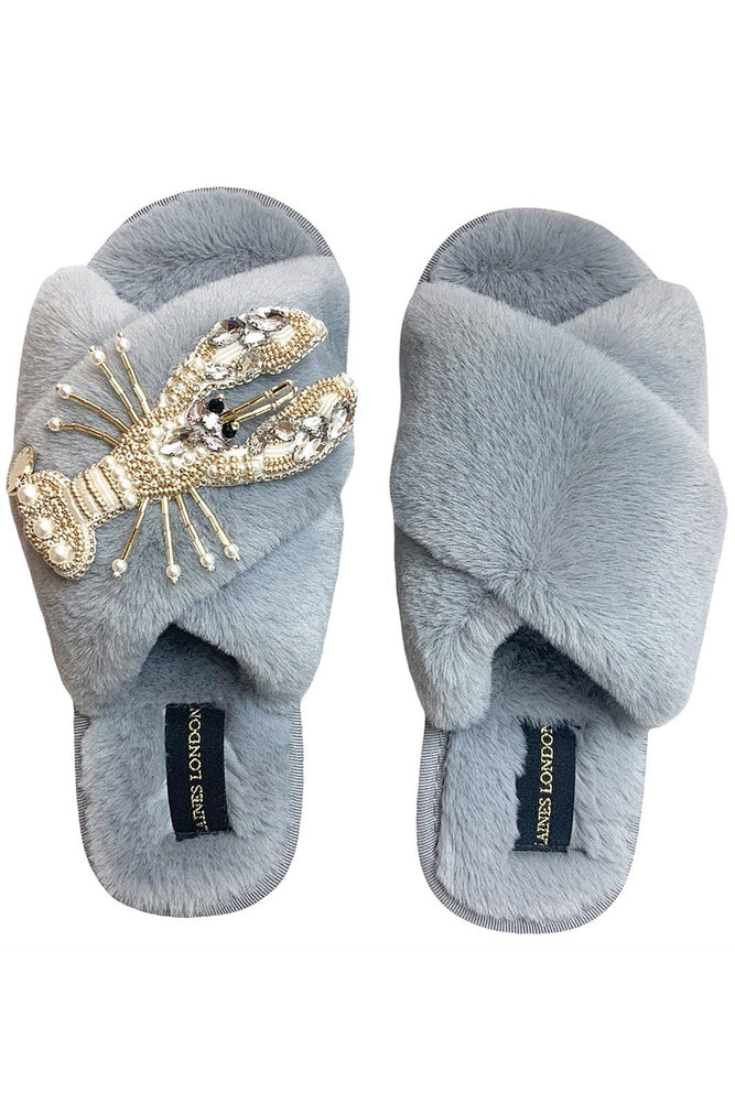Grey Fluffy Slippers With Pearl & Gold Lobster