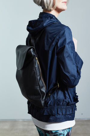 Handmade Pal Black Leather Rucksack - Coco Barclay at The Bias Cut