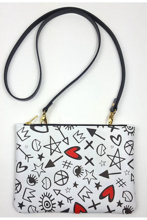 Heartbreaker Illustrated Clutch/Crossbody Bag - Dark Horse Ornament at The Bias Cut