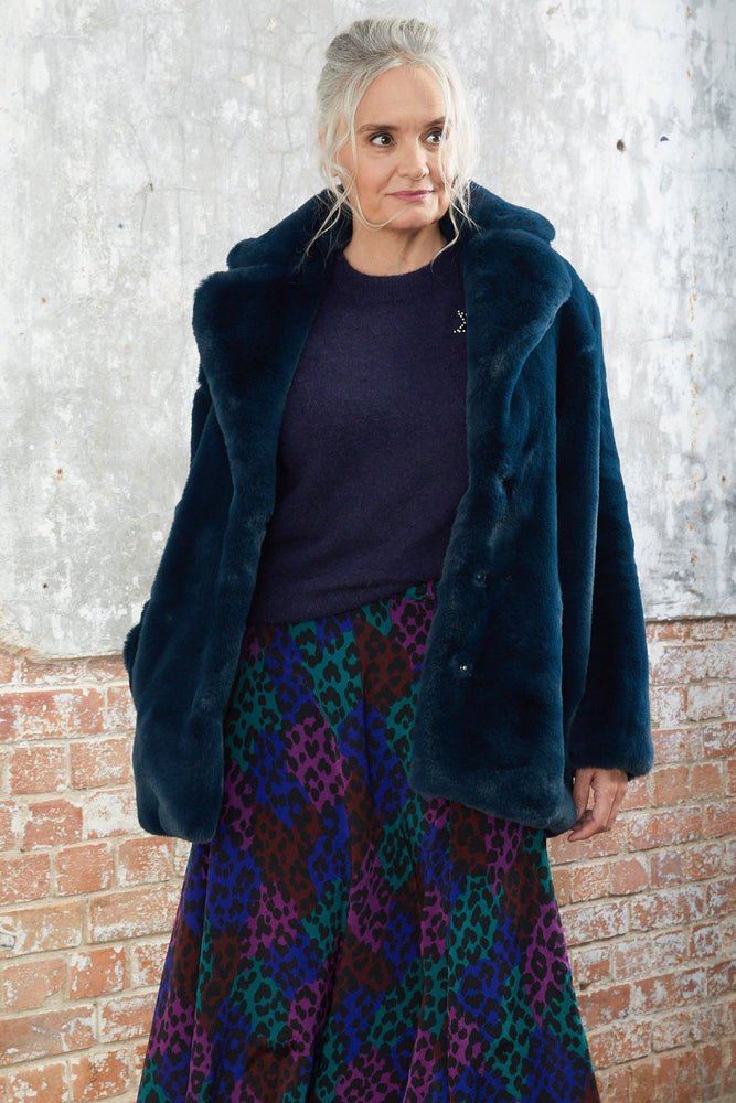 Heather Teal Faux Fur Coat - Jakke