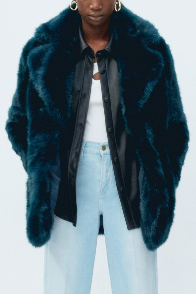 Heather Teal Faux Fur Coat - Pre-Order - Jakke