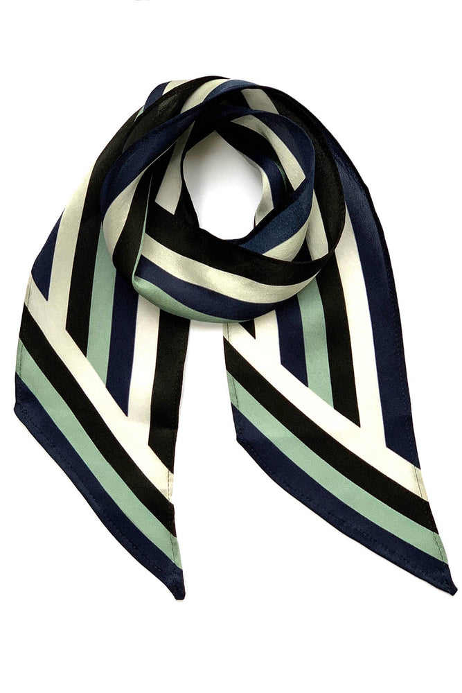 Load image into Gallery viewer, Henley Silk Stripe Neck Scarf Blue - Ingmarson at The Bias Cut