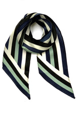 Henley Silk Stripe Neck Scarf Blue