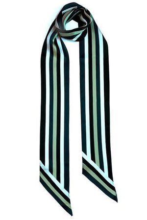 Henley Silk Stripe Neck Scarf Long Blue - Ingmarson at The Bias Cut