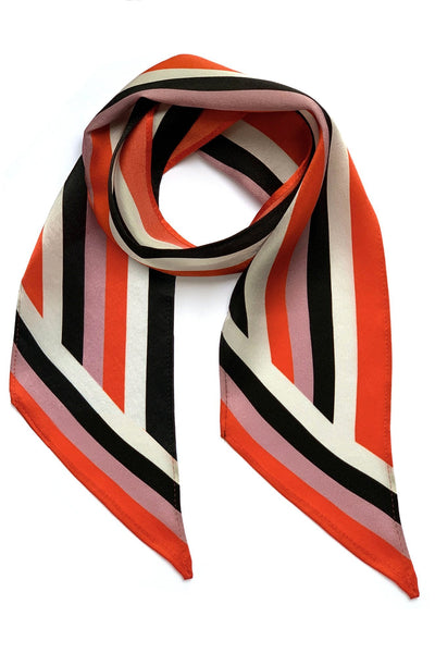 Henley Silk Stripe Neck Scarf Orange - Ingmarson