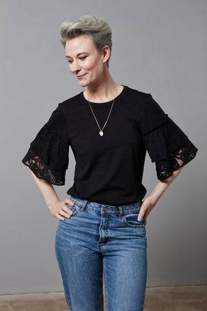 Jersey Top with Ruffled Lace Sleeves - Scotch & Soda at The Bias Cut