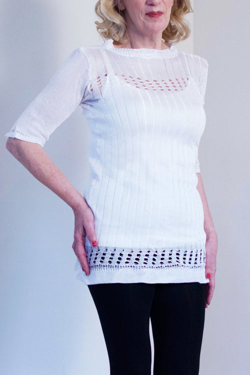 Light Pearl Knitted Tunic - Korlekie